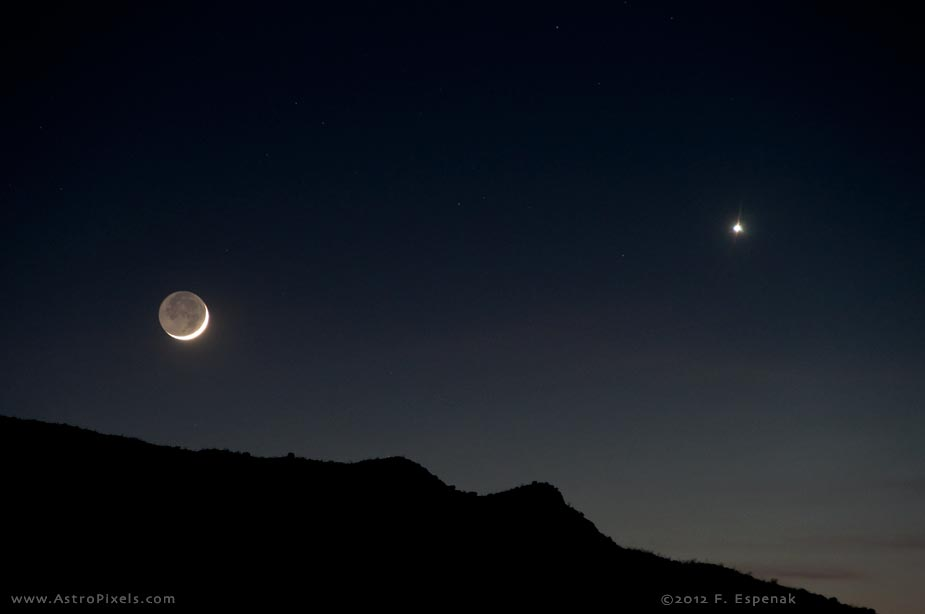 Crescent Moon and Venus - Pics about space