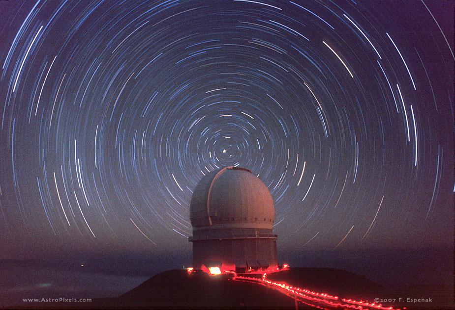 Polar Star Trails Over Canada France Hawaii Telescope CFHT